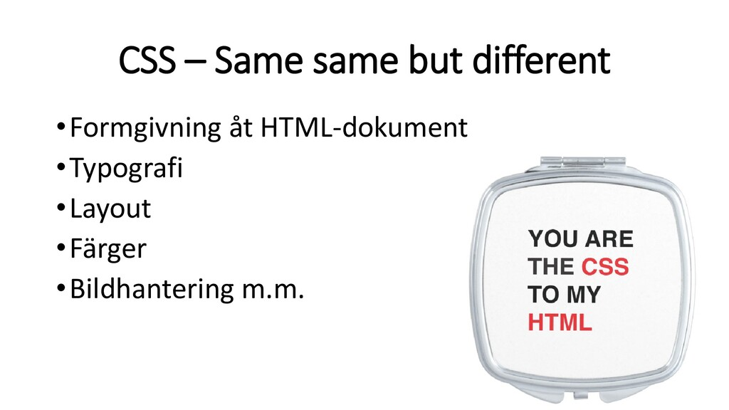CSS – Same same but different •Formgivning åt H...