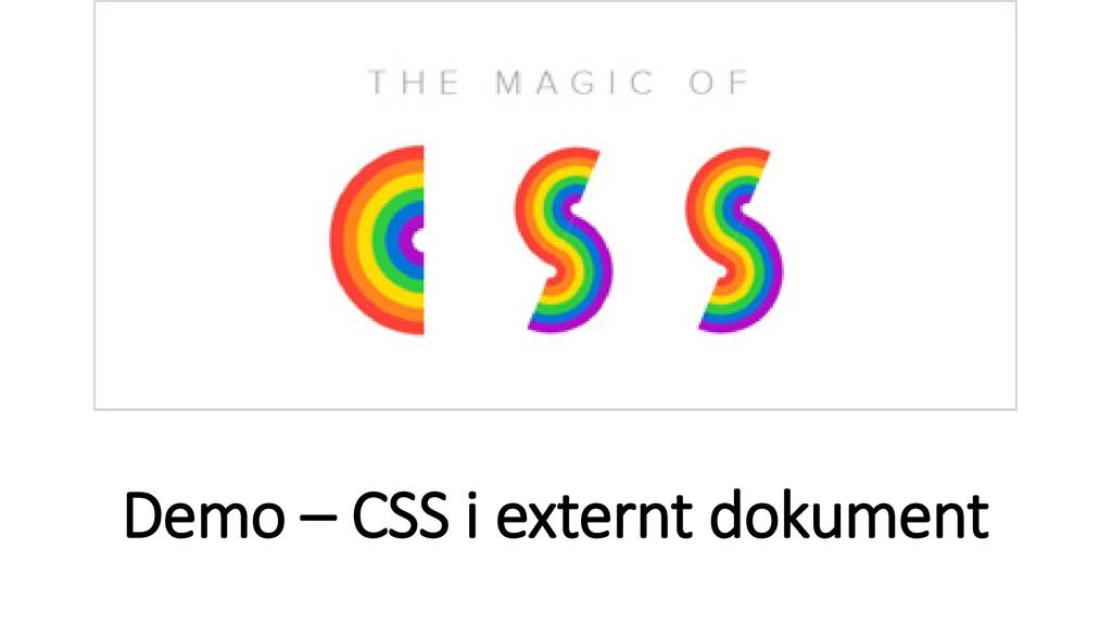 Demo – CSS i externt dokument
