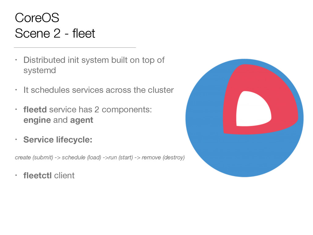 CoreOS Scene 2 - fleet • Distributed init system...