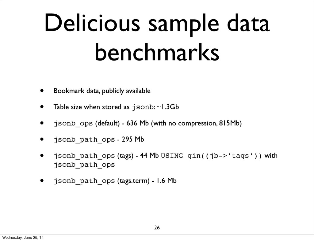 Delicious sample data benchmarks • Bookmark dat...