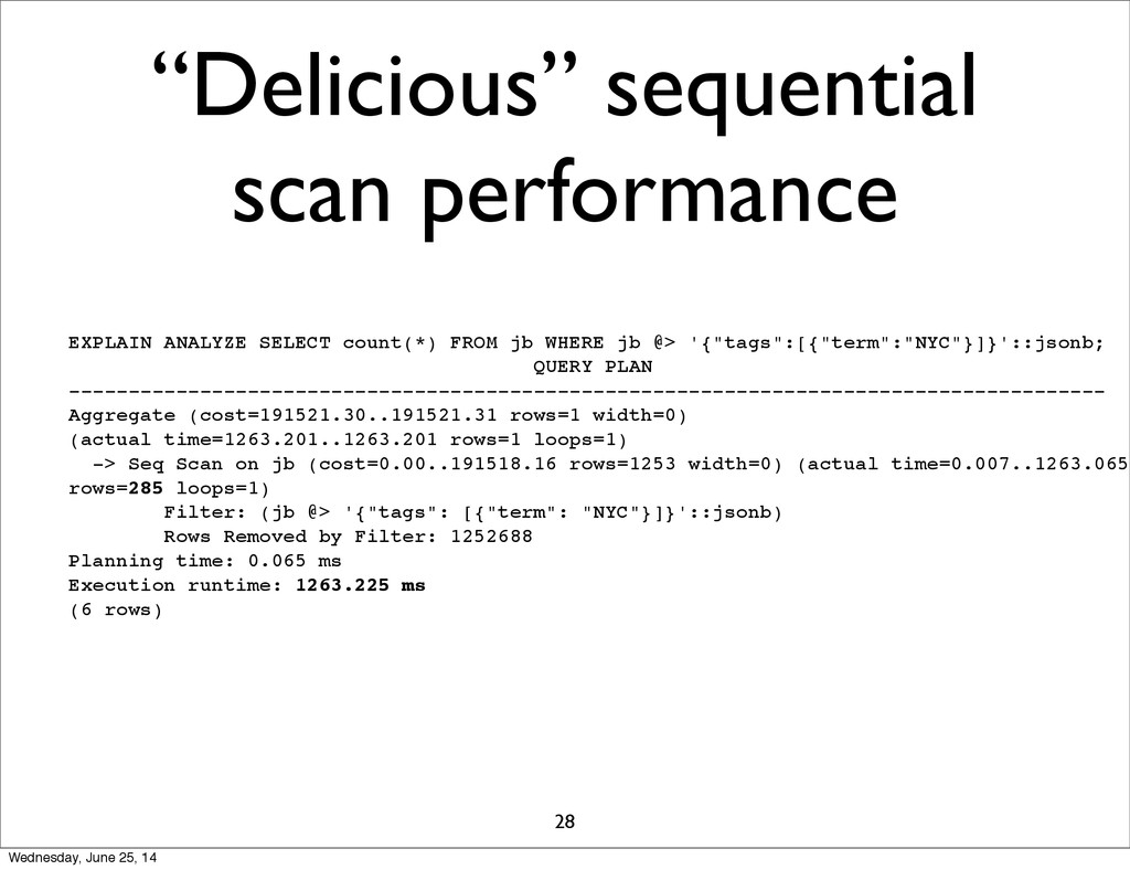 """Delicious"" sequential scan performance 28 EXPL..."