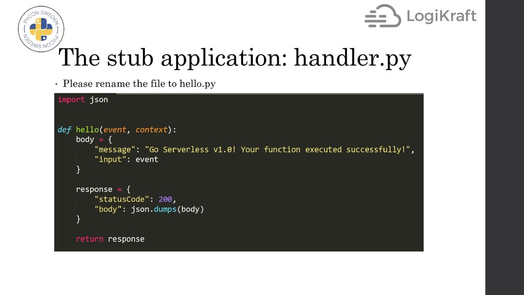 The stub application: handler.py • Please renam...