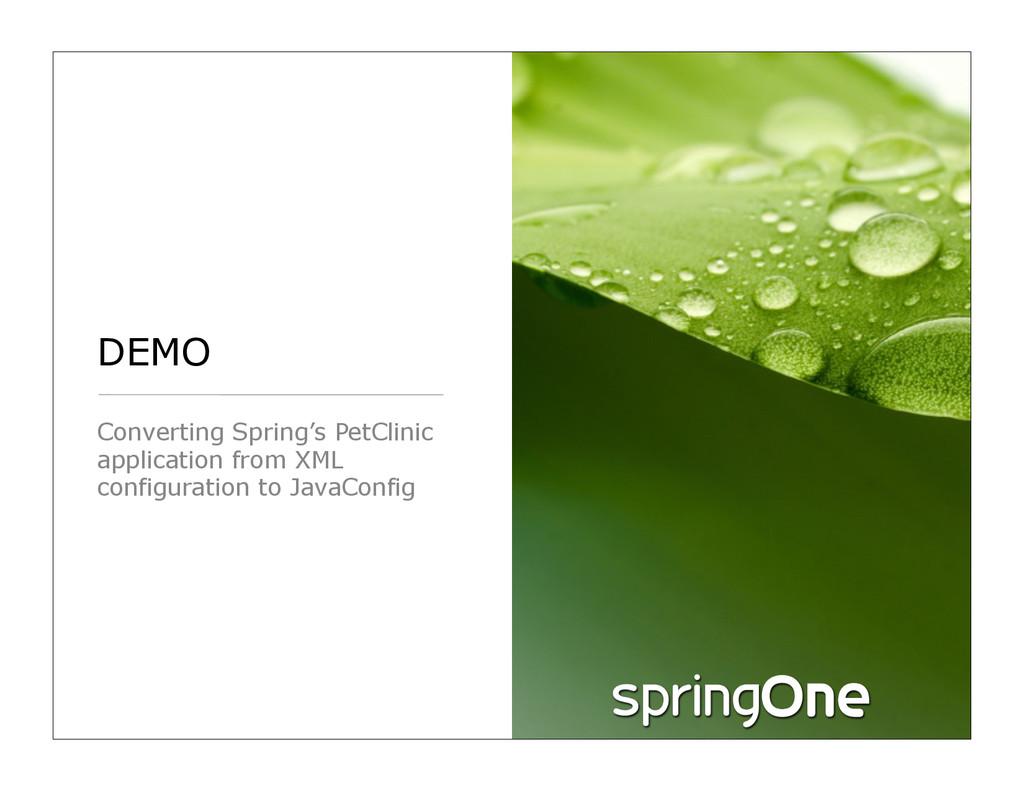 DEMO Converting Spring's PetClinic application ...