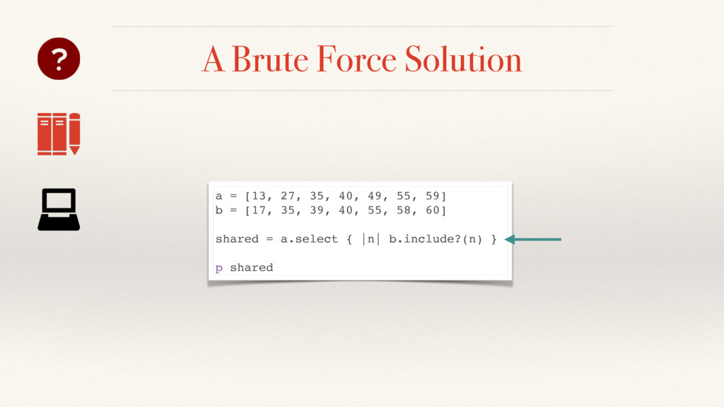 A Brute Force Solution a = [13, 27, 35, 40, 49,...