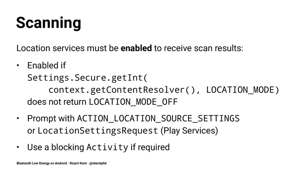 Scanning Location services must be enabled to r...
