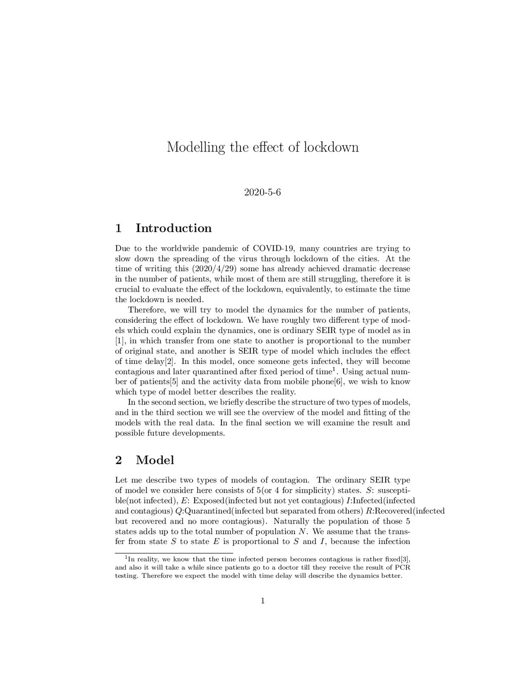 Modelling the effect of lockdown 2020-5-6 1 Intr...