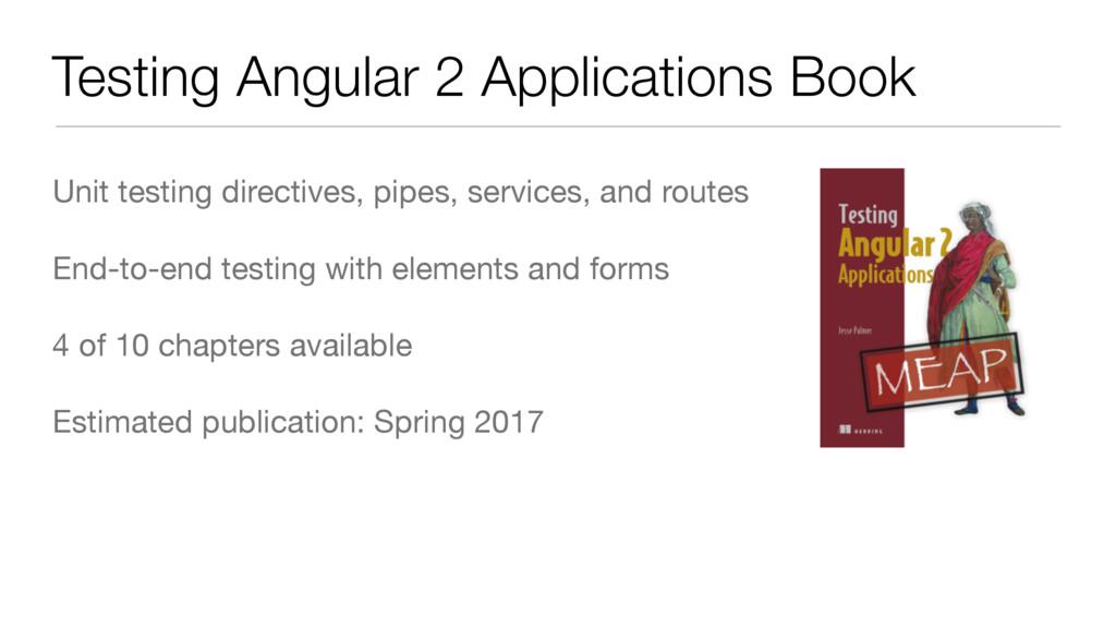 Testing Angular 2 Applications Book Unit testin...