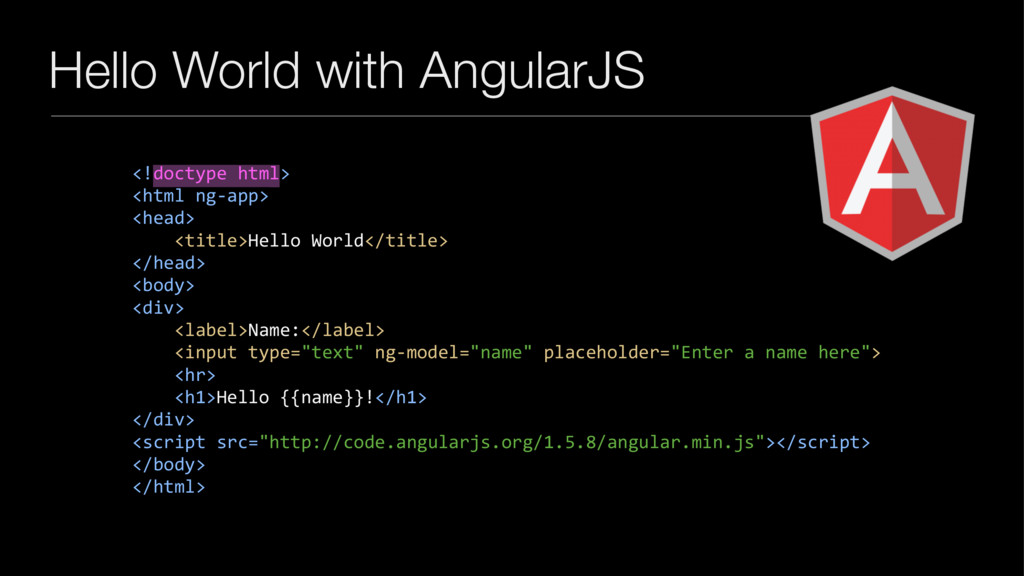 Hello World with AngularJS <!doctype html> <htm...