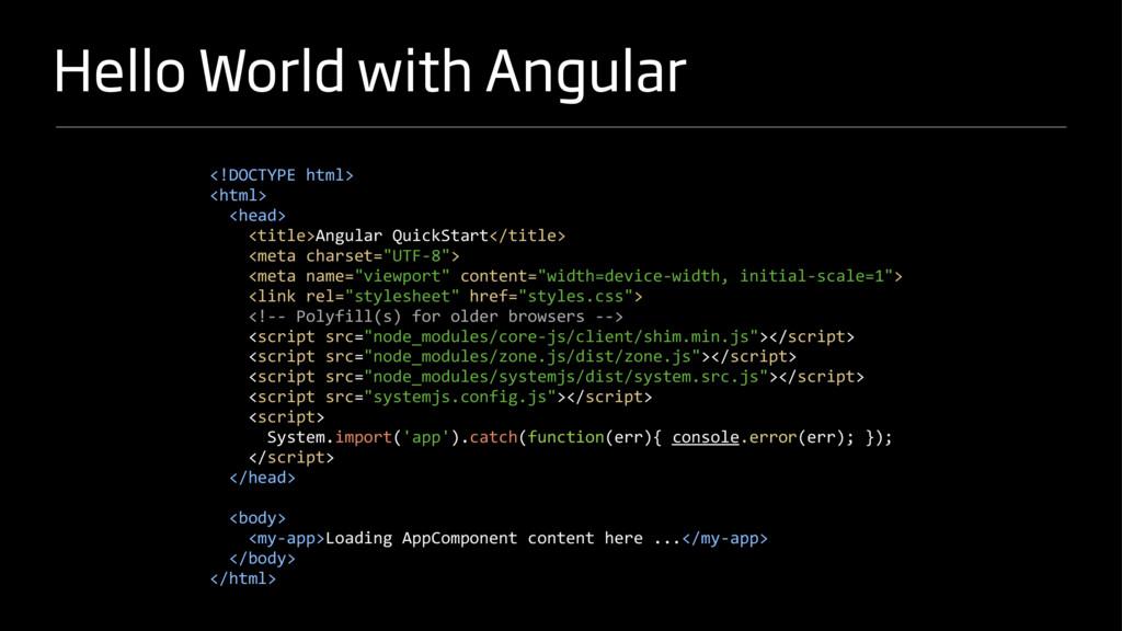Hello World with Angular <!DOCTYPE html> <html>...