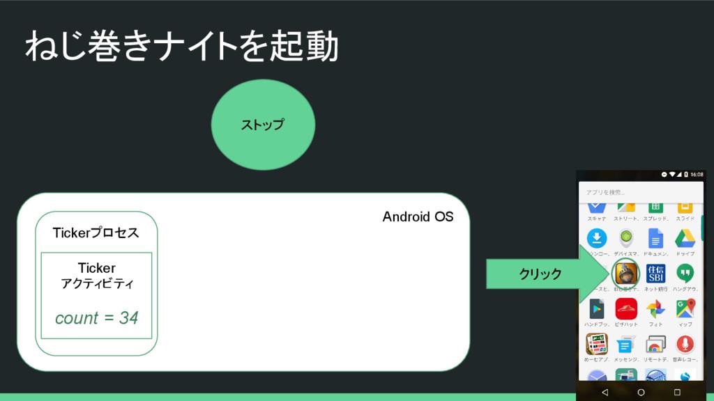 ねじ巻きナイトを起動 Android OS Tickerプロセス クリック Ticker アク...