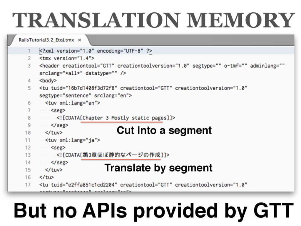 TRANSLATION MEMORY But no APIs provided by GTT ...