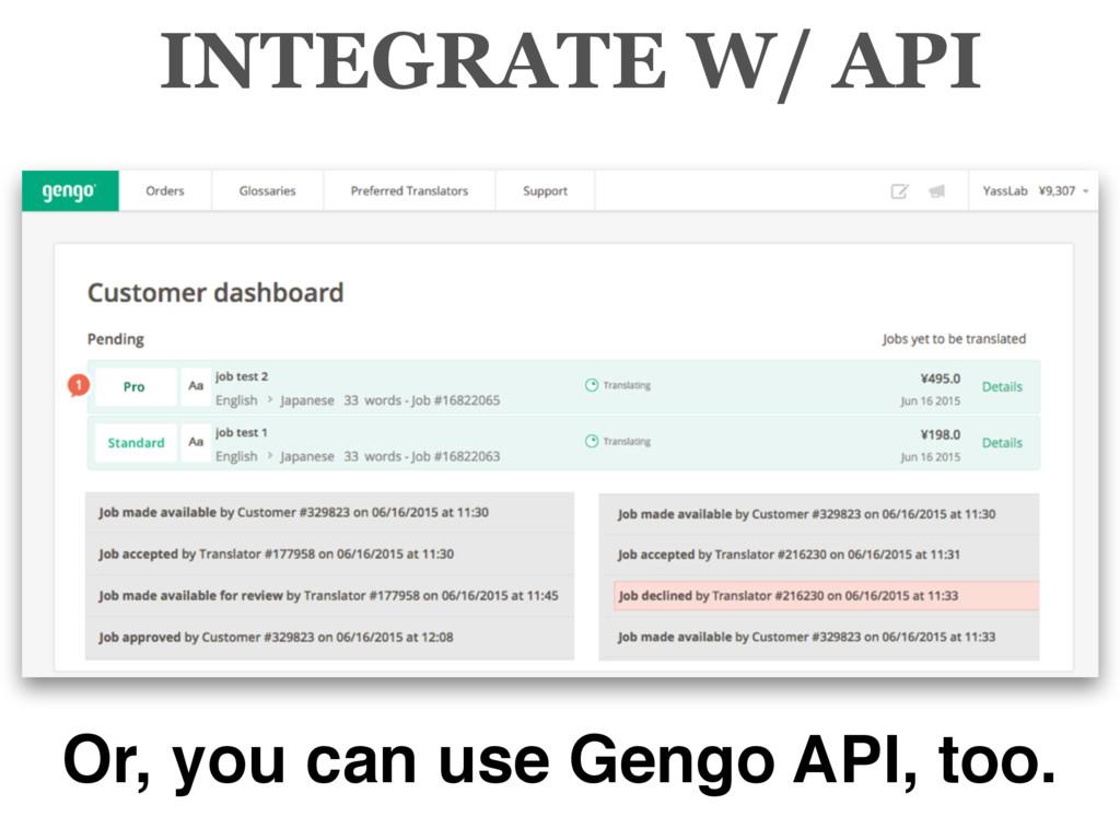 INTEGRATE W/ API Or, you can use Gengo API, too.
