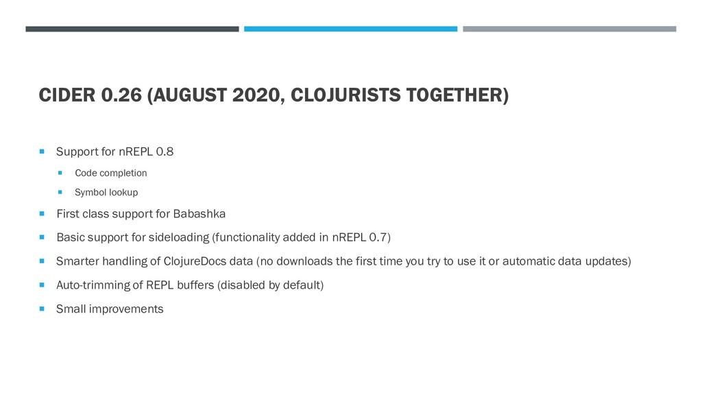 CIDER 0.26 (AUGUST 2020, CLOJURISTS TOGETHER) ...