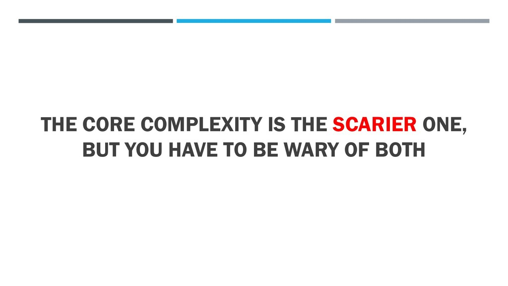 THE CORE COMPLEXITY IS THE SCARIER ONE, BUT YOU...