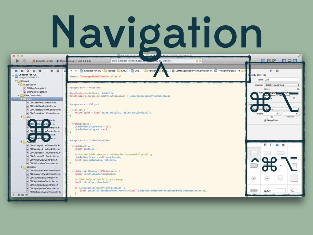 ⌘ ^ ⌘⌥ ^⌘⌥ Navigation