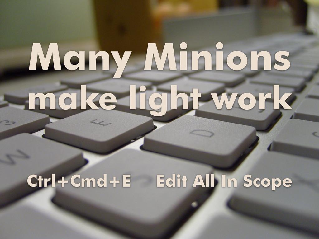 Many Minions make light work Ctrl+Cmd+E Edit Al...