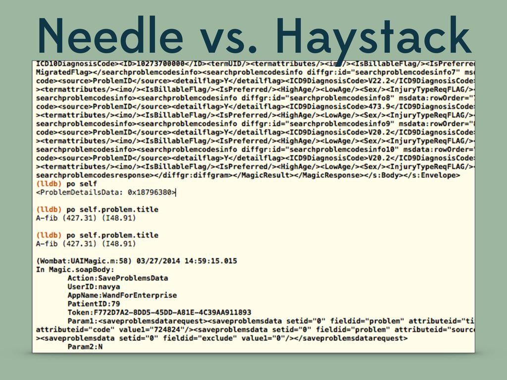 Needle vs. Haystack