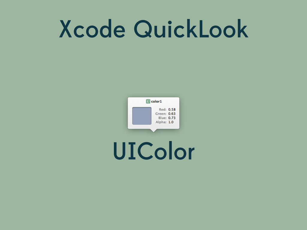 Xcode QuickLook UIColor
