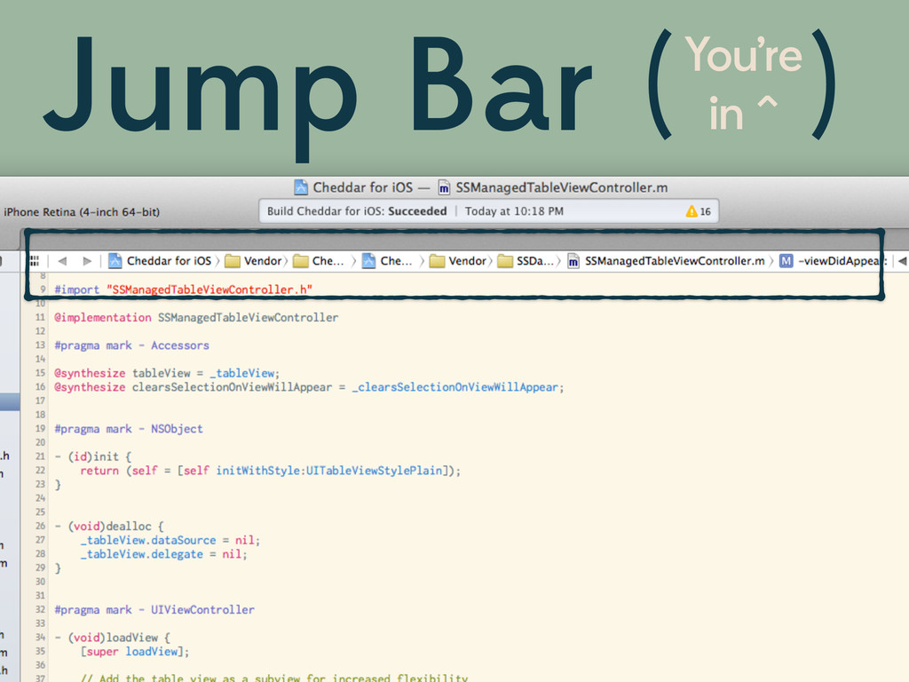 Jump Bar You're in ^ ( )