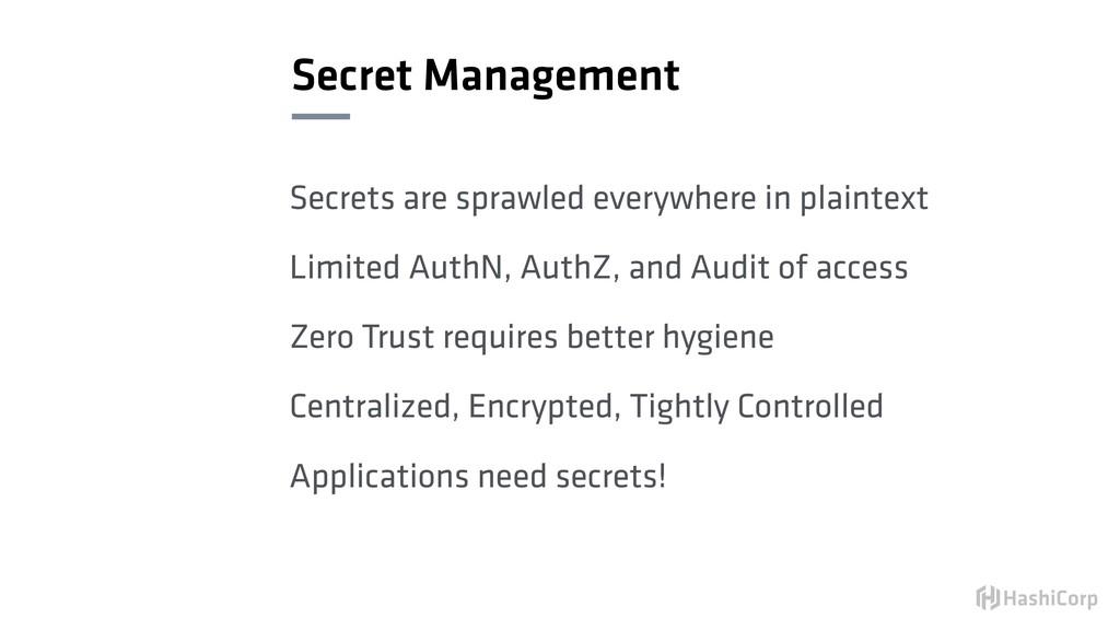 Secret Management Secrets are sprawled everywhe...
