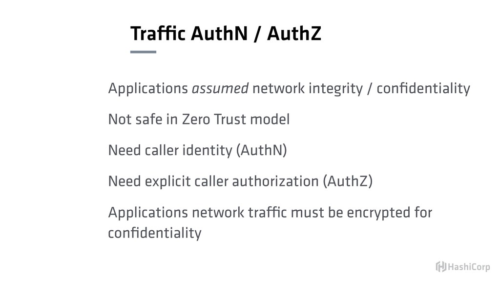Traffic AuthN / AuthZ Applications assumed netw...
