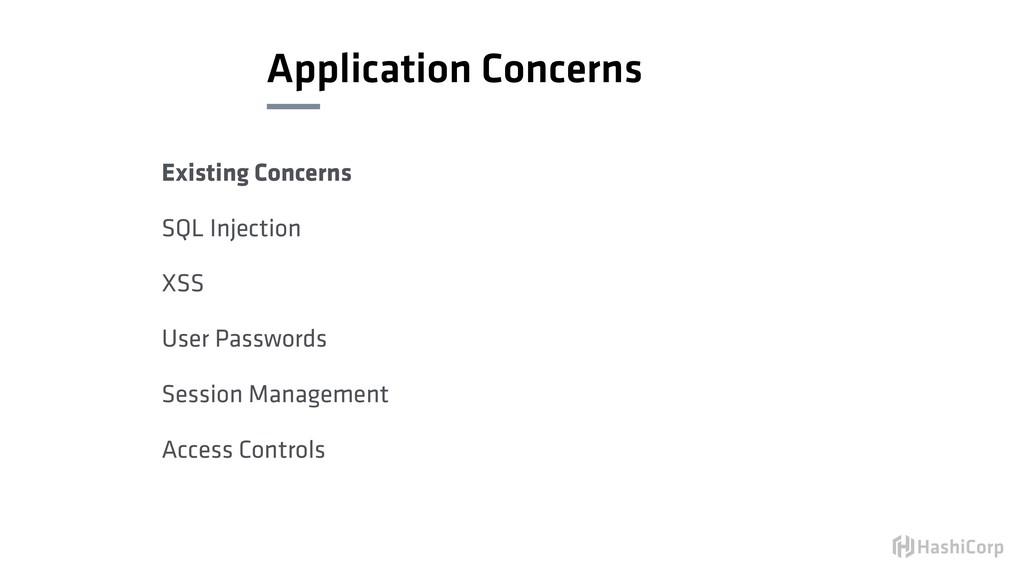 Application Concerns Existing Concerns SQL Inje...