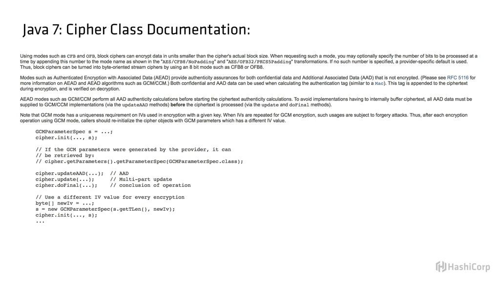 Java 7: Cipher Class Documentation: