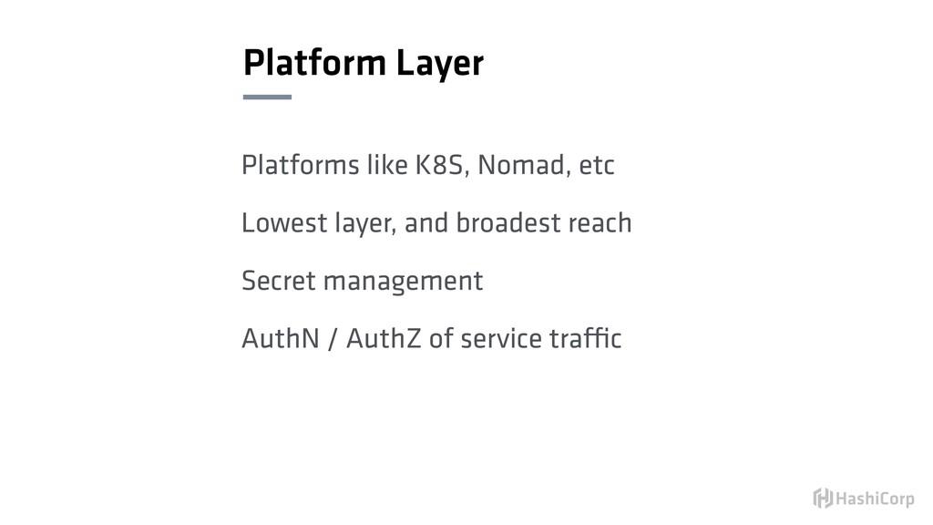 Platform Layer Platforms like K8S, Nomad, etc L...