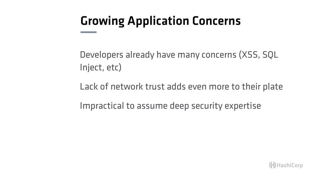 Growing Application Concerns Developers already...