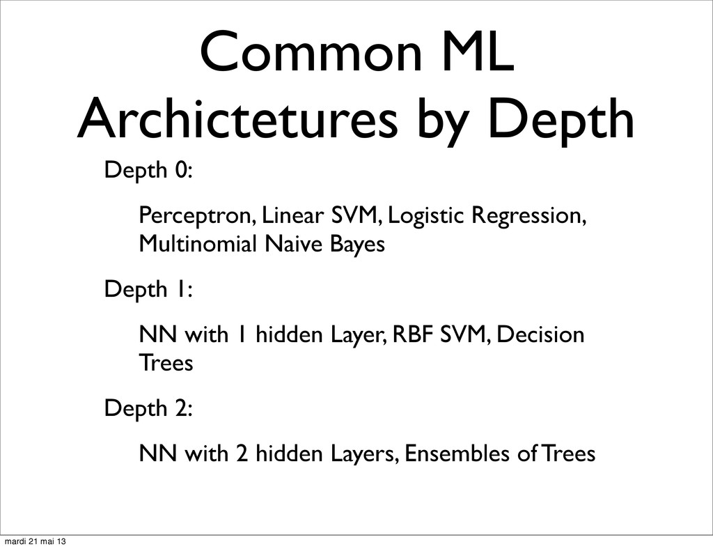 Common ML Archictetures by Depth Depth 0: Perce...