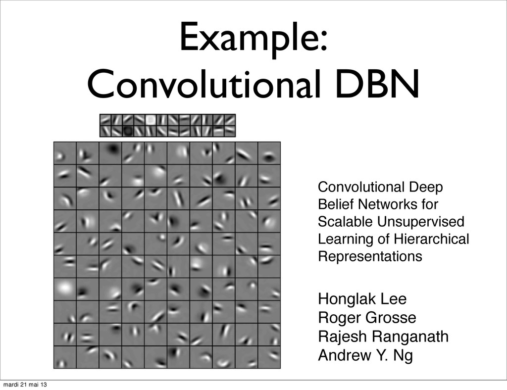 Example: Convolutional DBN Convolutional Deep B...