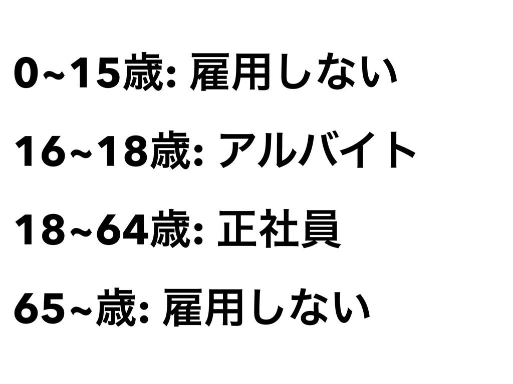 0~15ࡀ: ޏ༻͠ͳ͍   16~18ࡀ: ΞϧόΠτ   18~64ࡀ: ਖ਼ࣾһ   65...