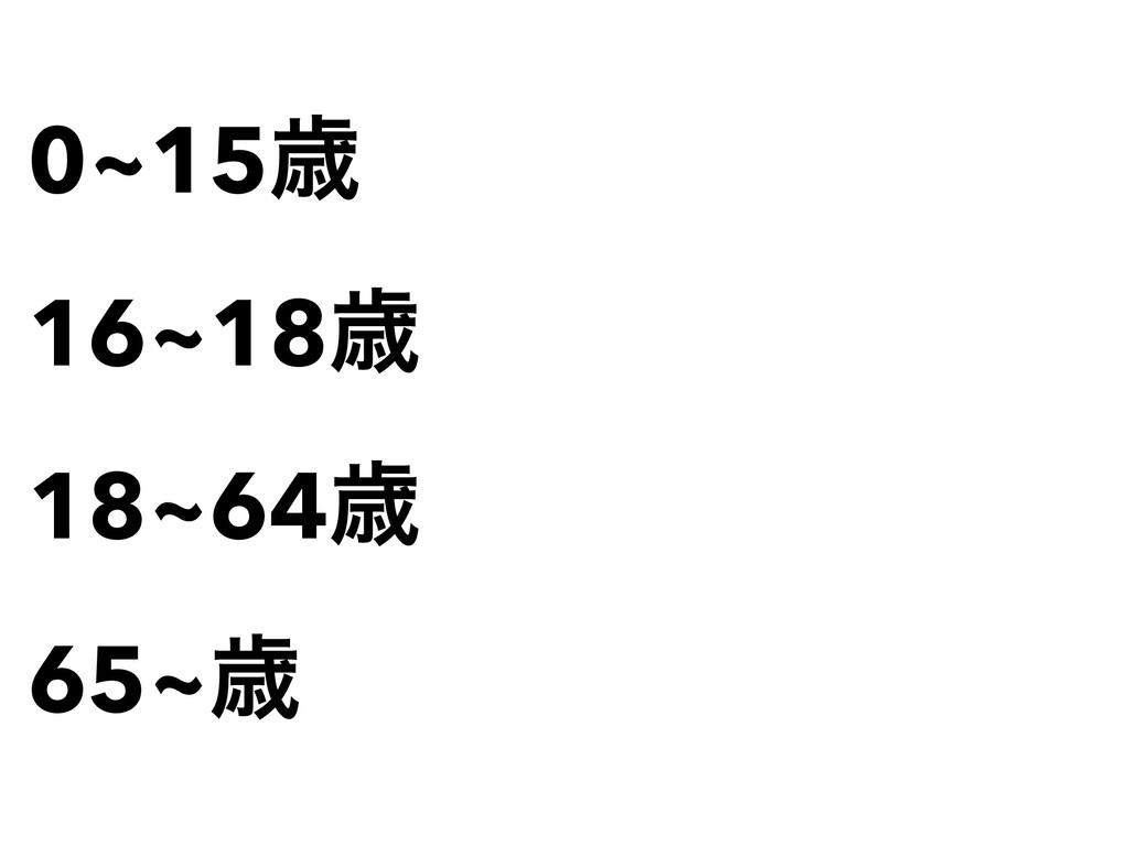 0~15ࡀ   16~18ࡀ   18~64ࡀ   65~ࡀ
