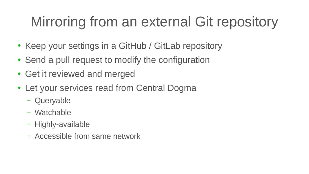 Mirroring from an external Git repository ● Kee...