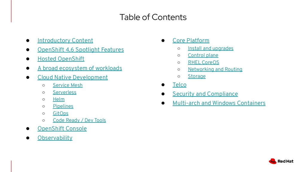 Table of Contents ● Introductory Content ● Open...