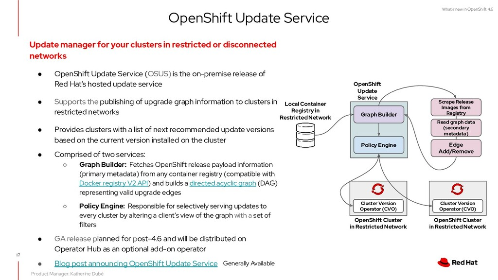 What's new in OpenShift 4.6 17 Update manager f...