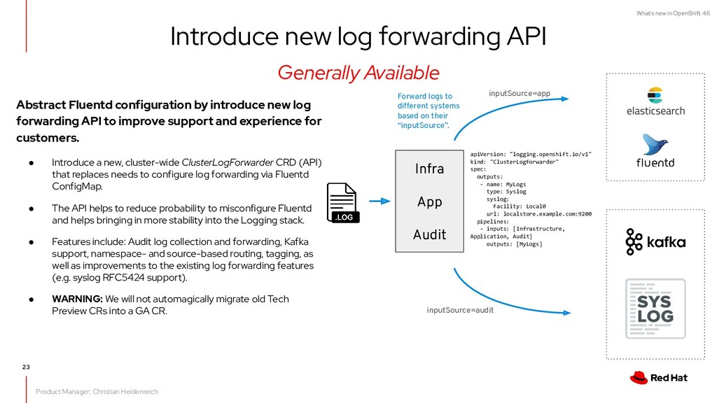 What's new in OpenShift 4.6 Abstract Fluentd co...