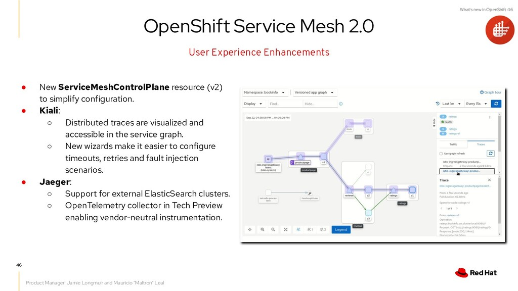 What's new in OpenShift 4.6 ● New ServiceMeshCo...