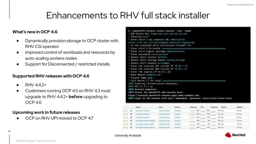 What's new in OpenShift 4.6 Enhancements to RHV...