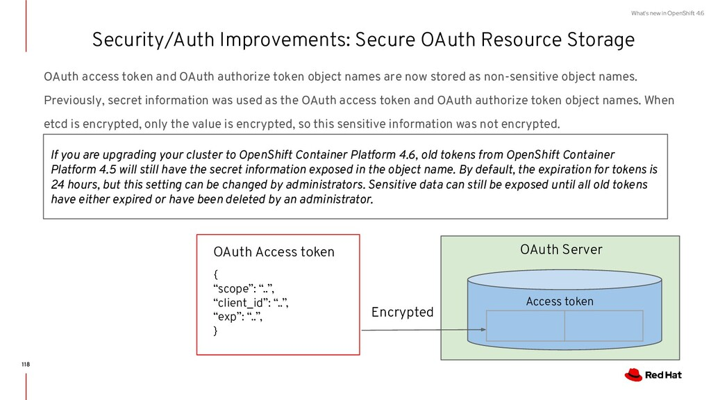 What's new in OpenShift 4.6 OAuth access token ...