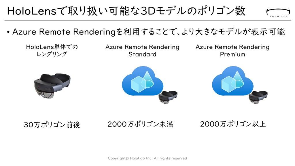 HoloLensで取り扱い可能な3Dモデルのポリゴン数 • Azure Remote Rend...