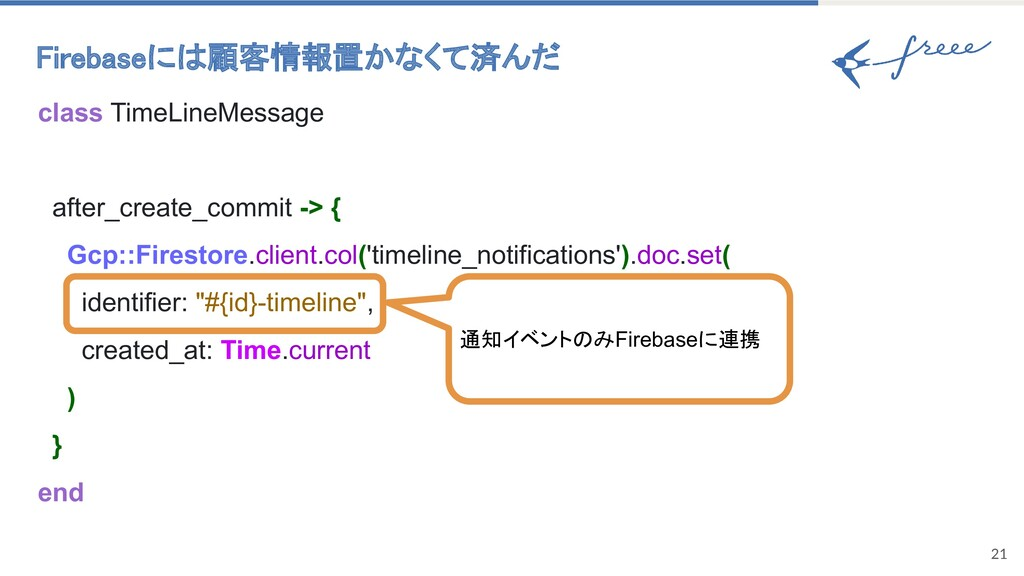 21 Firebaseには顧客情報置かなくて済んだ class TimeLineMessag...
