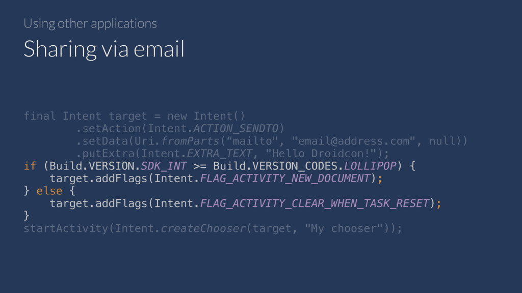 Using other applications Sharing via email fina...