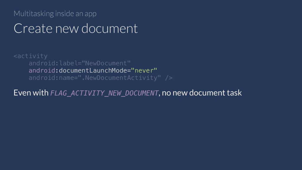 Multitasking inside an app Create new document ...