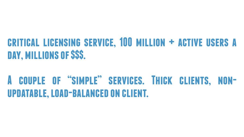 critical licensing service, 100 million + activ...