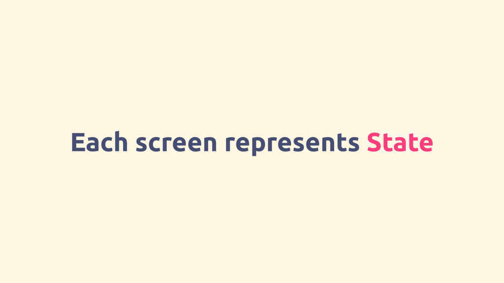 Each screen represents State