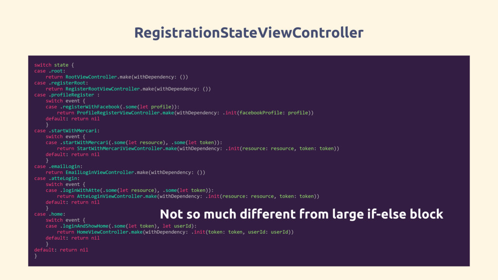 RegistrationStateViewController switch state { ...