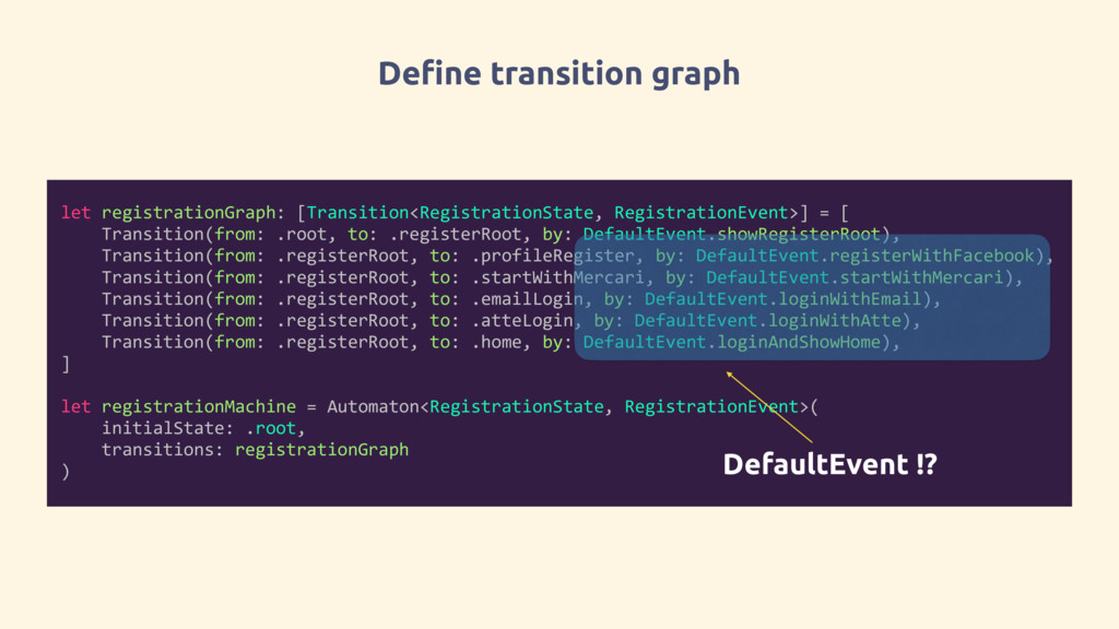Define transition graph let registrationGraph: ...
