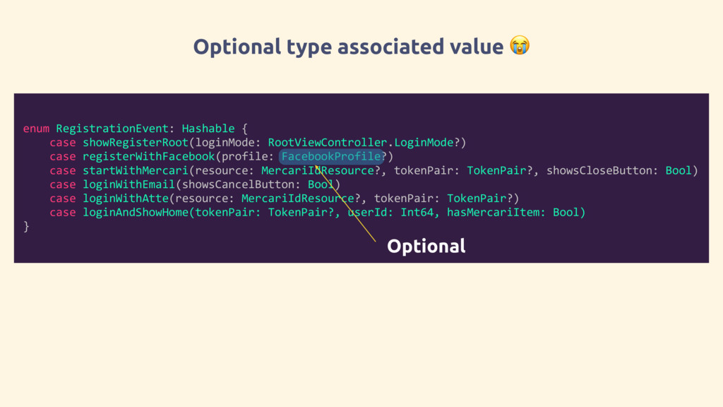 Optional type associated value  enum Registrati...
