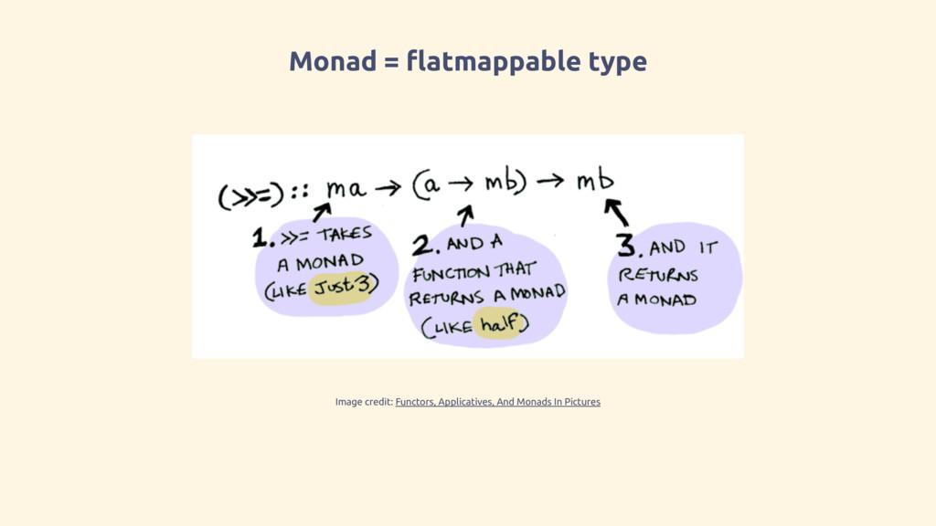 Monad = flatmappable type Image credit: Functor...